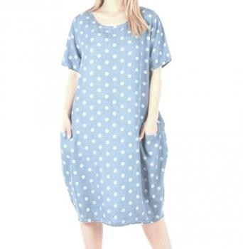 68ab748256a7 Kleid m. Punkten blau oversized Sommerkleid | Smuk