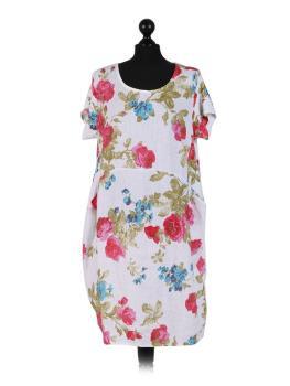 innovatives Design a5fb1 4b8af Leinenkleid weiß mit bunten Blumen oversized versandkostenfrei